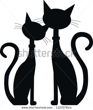 stock vector : silhouette of two black cats