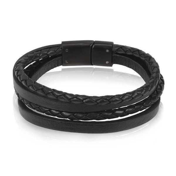 Black Leather Multi Strand Bracelet