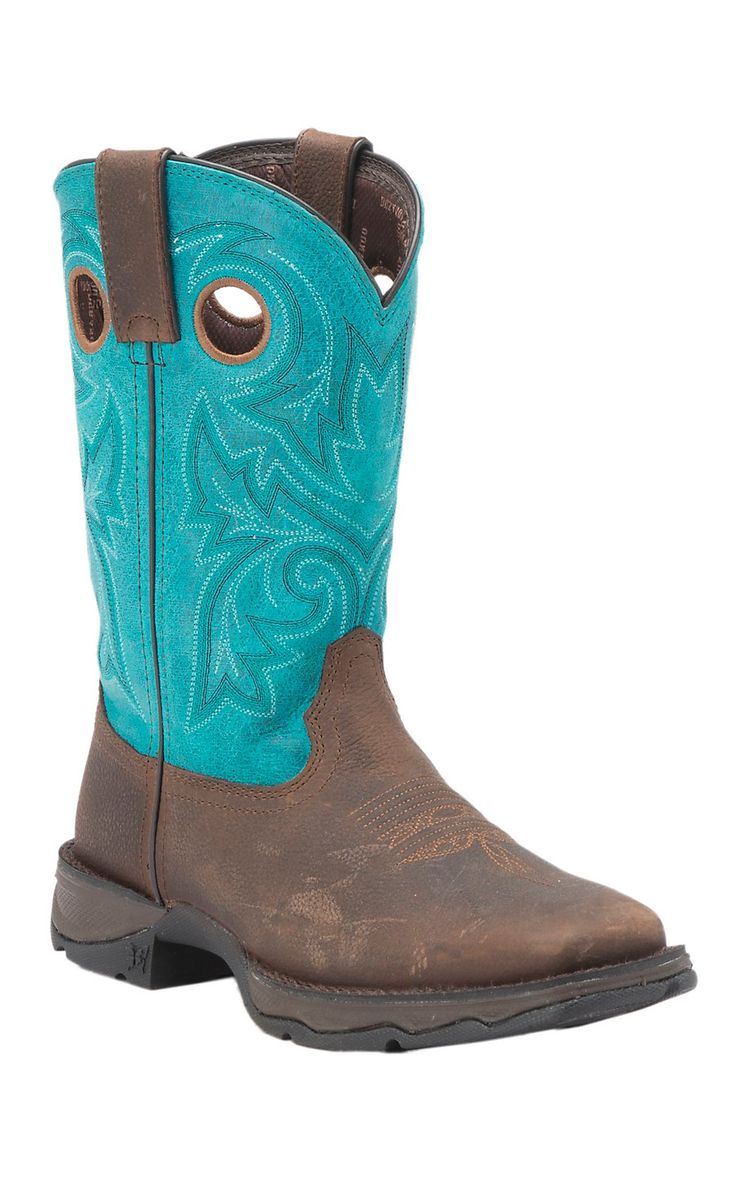 Durango Lady Rebel Women's Bar None Brown with Turquoise Top Square Toe Western Boot