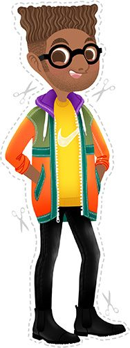 Anna Lubinski - Illustration - Seen in the bus - Cartoon portrait - Character design - He has an old school fade haircut. He wears a mustard Nike sweater, black used jeans, black chelsea boots and colorful raincoat.