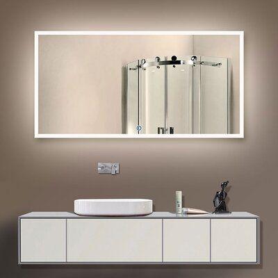 Orren Ellis Laniel Halo Lighted Led Bathroom Vanity Mirror Size 32 H X 35 W In 2020 Backlit Bathroom Mirror Lighted Vanity Mirror Modern Bathroom Design