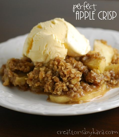 Recipe for apple crisp with double the buttery oat topping. Totally amazing!