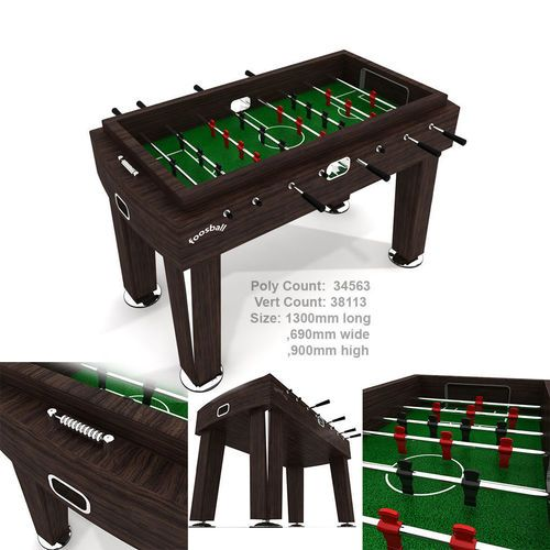 Wood Foosball Soccer table with green pitch | 3D Model
