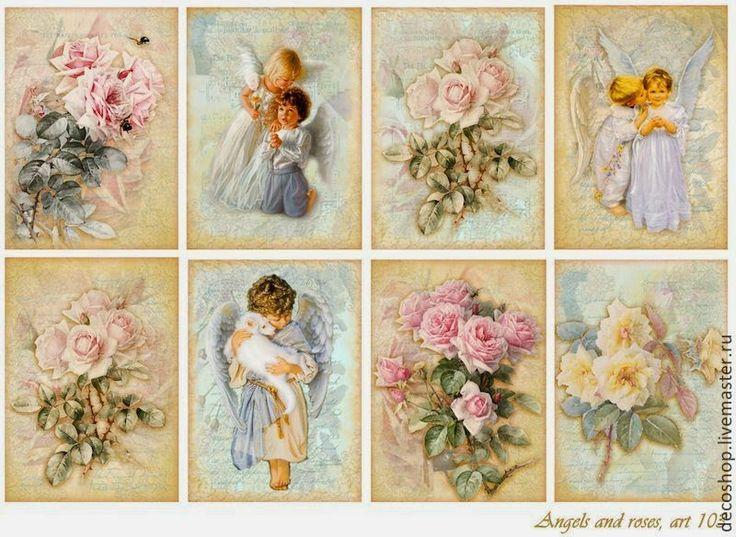 Etiquetas Vintage de Ángeles y Rosas para Imprimir Gratis.
