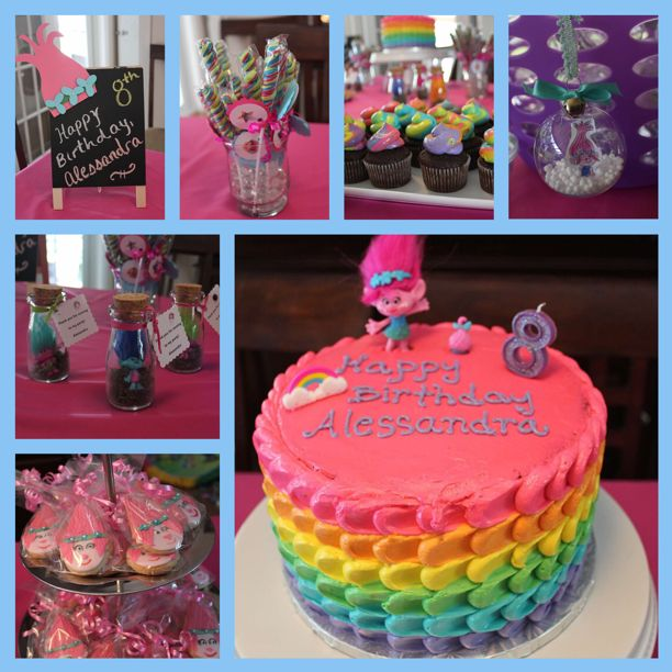 Trolls Party Ideas - cake, cupcakes, cookies, party favors, craft and decorations.