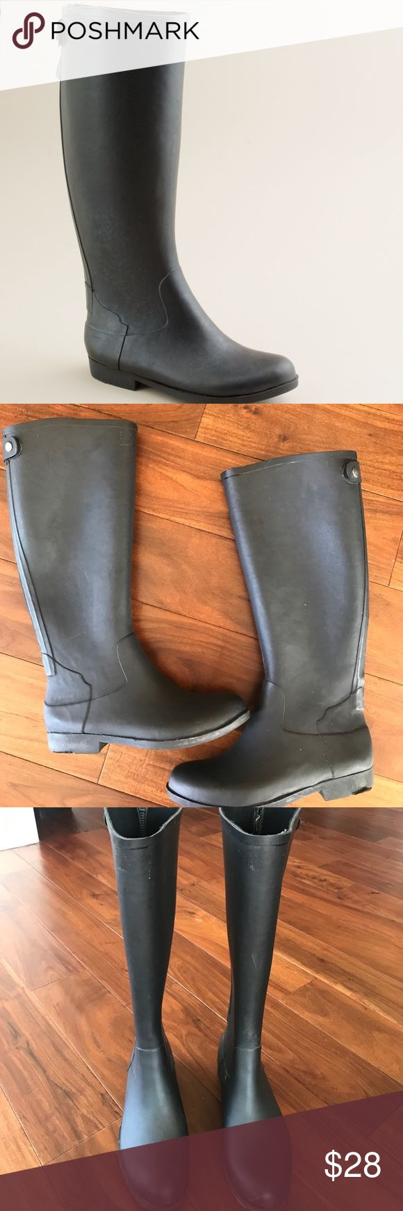 J Crew Weatherby Boots Size 8 Back zip black rain boots. Some wear but still great condition. J. Crew Shoes Winter & Rain Boots