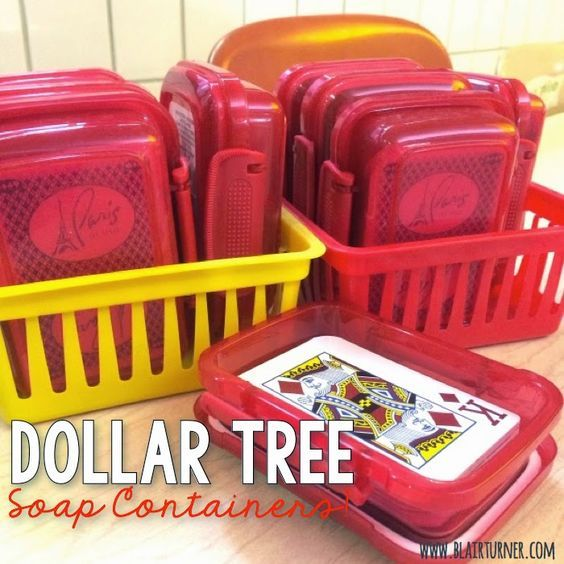 Dollar Tree soap containers are the perfect size to fit a deck of cards! (They also work great for crayons.)