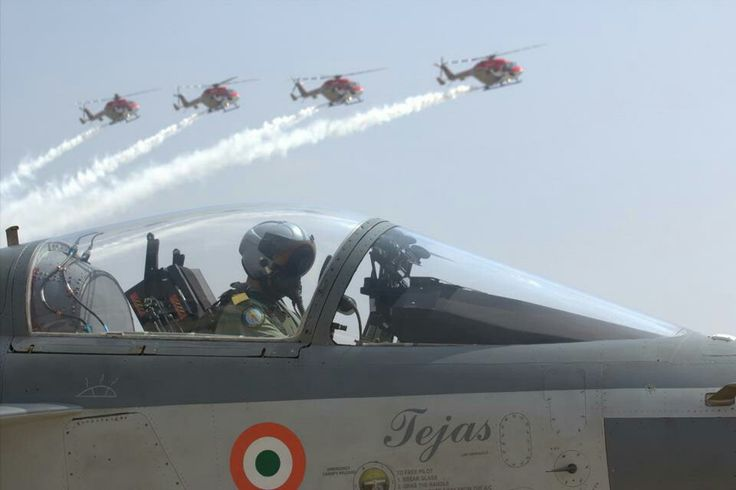 Hal Tejas with Hal Dhruv Helicopters