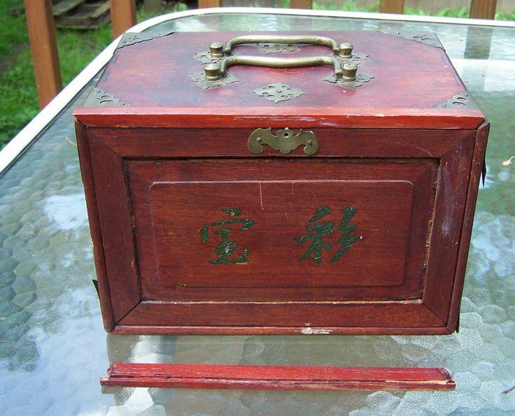 Antique 1920 S Bone Amp Bamboo Mah Jong Set In Red Wood Box