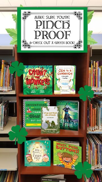 St. Patrick's Day book display with free printable!