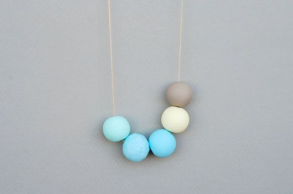 Polymer Clay NecklaceSoft tone necklace Bold Round by JullMade, #jewelry #necklace
