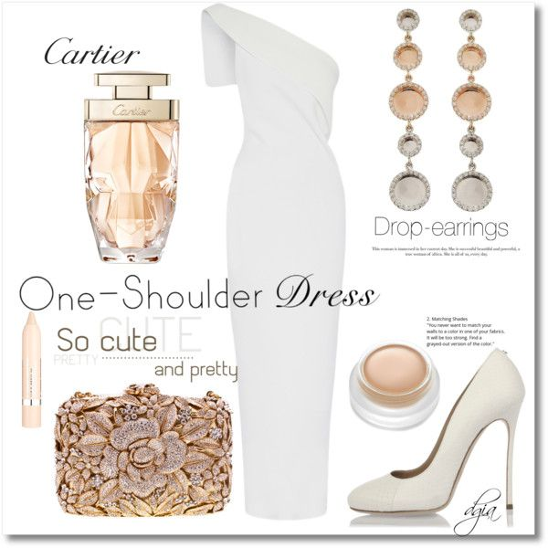 One-Shoulder Dress by dgia on Polyvore featuring mode, Dsquared2, rms beauty, L'Oréal Paris and Cartier