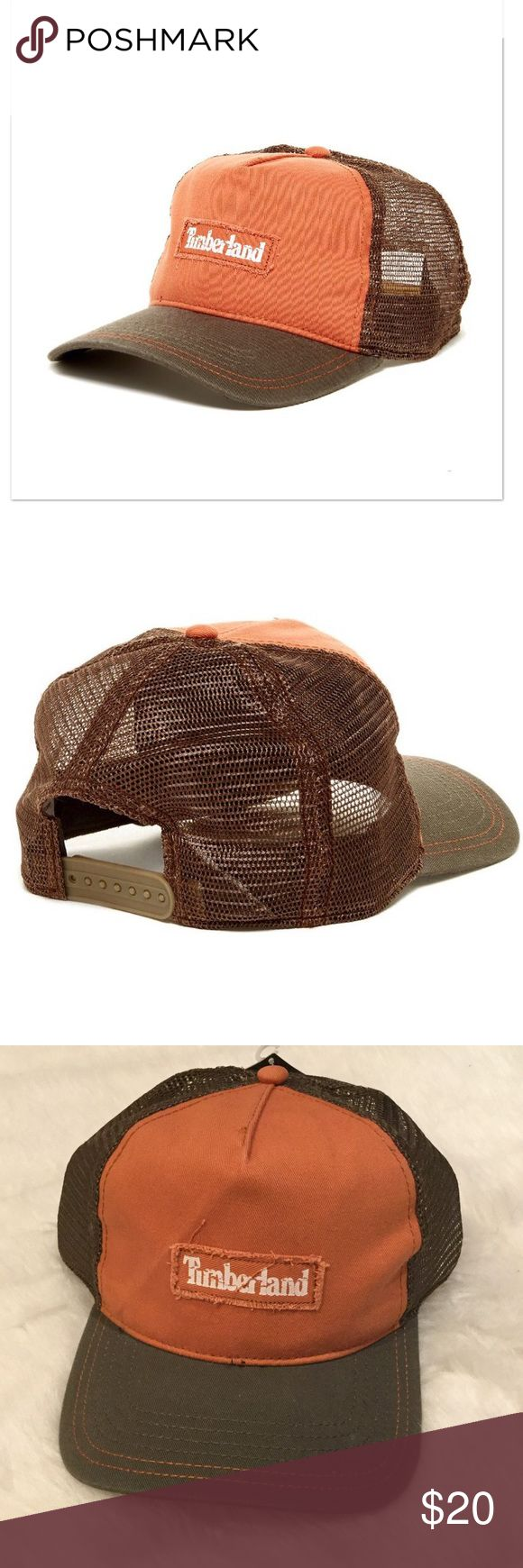 """NWT Timberland Mesh Snapback Mesh Snapback by Timberland in Light Orange.  Button top.  6 Panel construction.  Snap back closure.  Mesh insets.  Curved brim.  Approx 3"""" brim.  57% polyester, 43% cotton. Timberland Accessories Hats"""