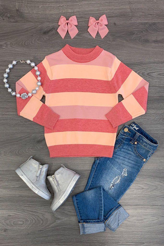 Pink & Peach Stripe Sweater