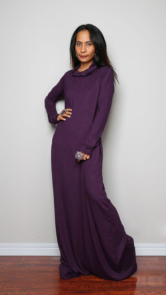 Purple Maxi Dress   Cowl Turtle Neck Dress /  Long by Nuichan