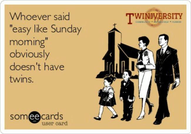Twiniversity Saturday Silly: Church with Twins