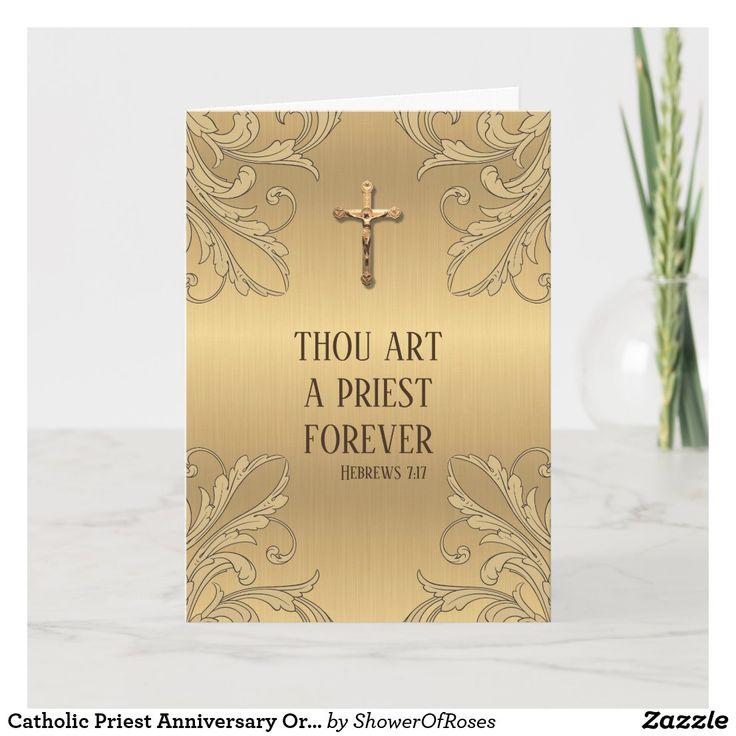 Catholic priest anniversary ordination crucifix card