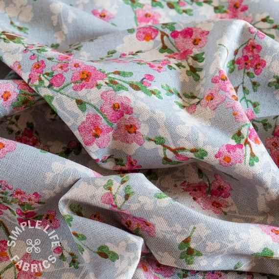 Floral  Linen Blue Curtain//Craft Fabric