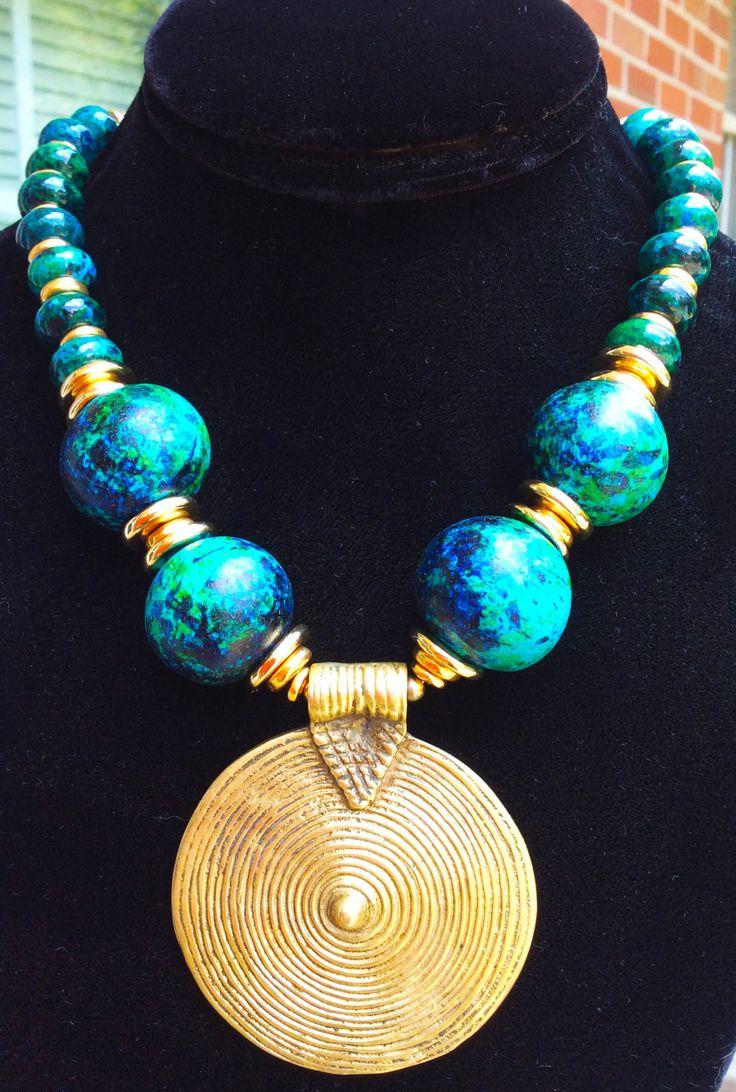 Aegean Sea: Aegean Blue, Chrysocolla, Gold and Tibetan Brass Shield Necklace