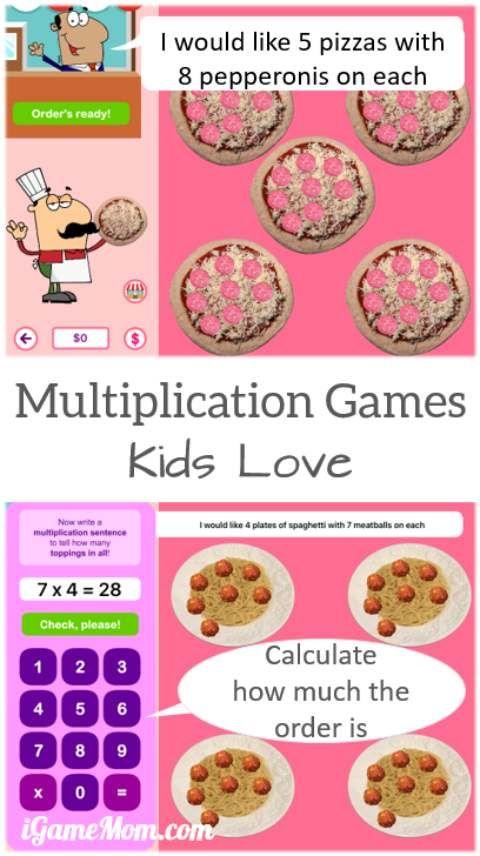 Multiply pizza pie multiplication app for kids