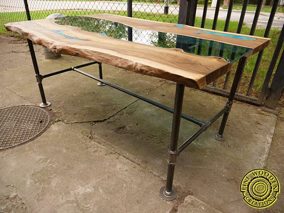 ON SALE Industrial live edge river table with gas pipe legs