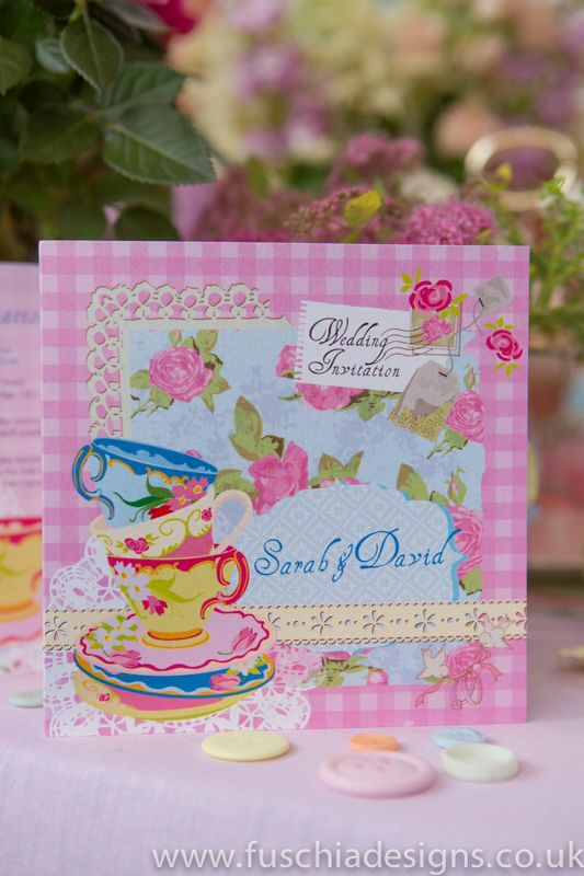 Wedding stationery, beautiful Time for Tea vintage collection 3 fold wedding invitations. www.fuschiadesigns.co.uk