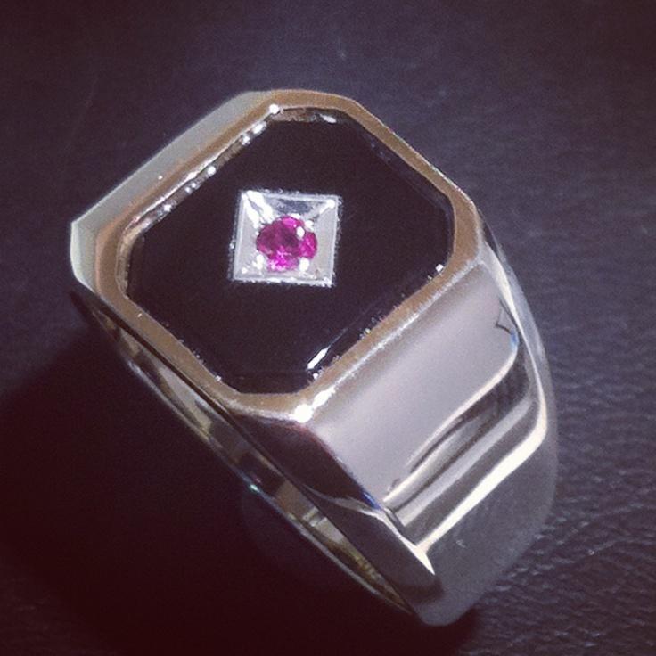 Men's onyx an pink saphire dress ring