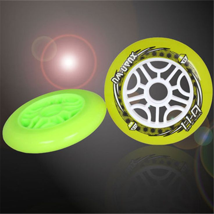 Original Xuanwu 110mm Skating wheel for Inline Speed Skates Racing Patines, Yellow Green 84A Grip for Powerslide STS Cityrun