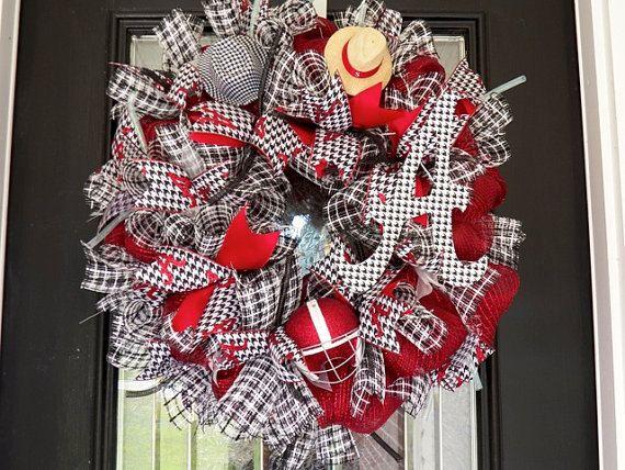 Alabama Football  Wreath  Made To Order Bama by KGKornerKraft