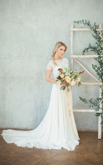 Jewel Neck Cap Sleeve A Line Chiffon Wedding Dress With Beaded Bodice