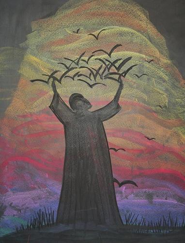 Waldorf ~ 2nd grade ~ Saints ~ St. Francis ~ chalkboard drawing
