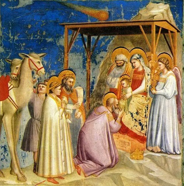 """GIOTTO: """"Adoración de los magos"""". Capilla Scrovegni (Padua). ESTILO ITALO-GÓTICO (Trecento)."""