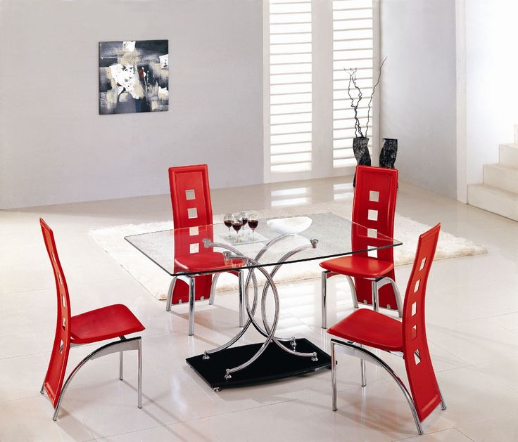 Dining Room, Beautiful Modern Square Glass Dining Table And Red Chairs In  Modern Dining Sets