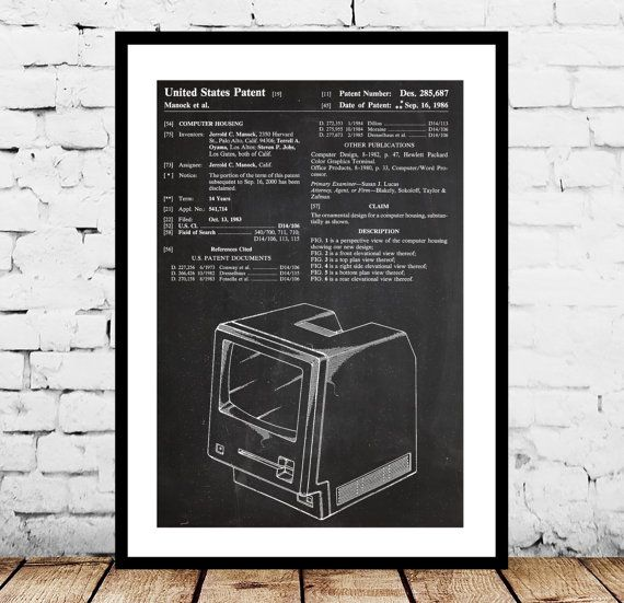 Apple Computer Patent, Apple Computer Poster, First Apple Computer Print, First Apple Computer Art, Apple Computer by STANLEYprintHOUSE  0.79 USD  This is a vintage patent print. The First Apple Computer from 1986.  This poster is printed using high quality archival inks, and will be of museum quality. Any of these posters will make a great affordable gift, or tie any room together.  Please choose between different sizes and co ..  https://www.etsy.com/ca/listing/231007527/apple-co..