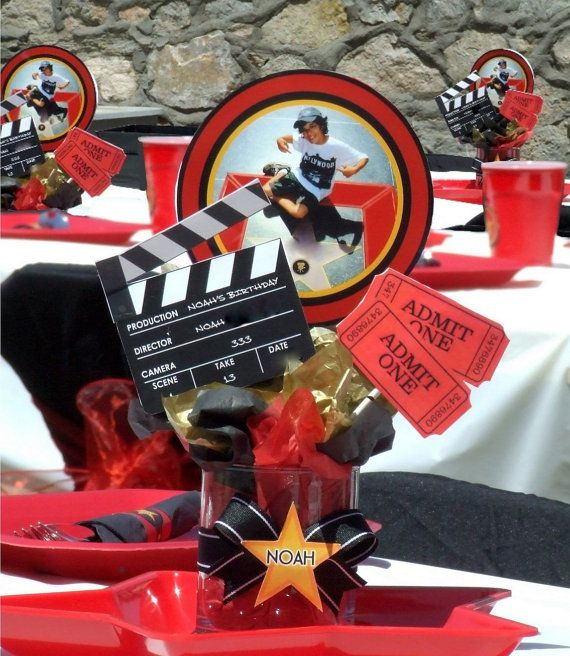 diy centerpieces for hollywood party | Printable - Centerpiece Elements - Custom - Personalized - Hollywood ...