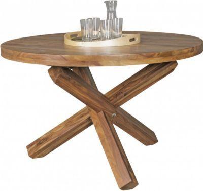 Wohnling WOHNLING Design Esszimmertisch Rund Ø 120 Cm X 75 Cm Sheesham  Massiv Holz |