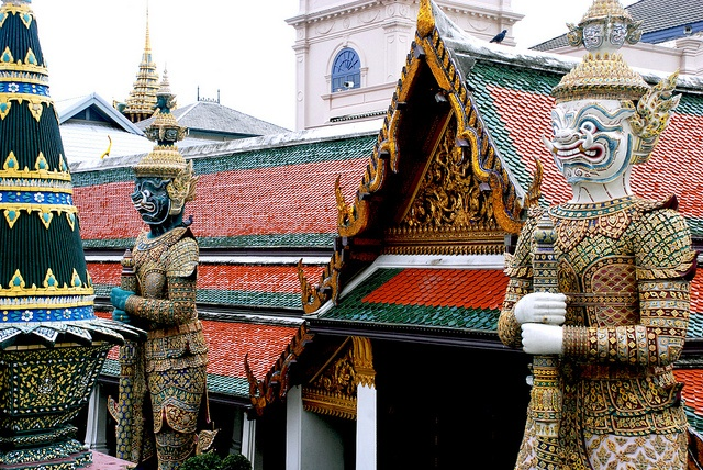 Wat Phra Kaew Temple, Bangkok - by Diego Rios    Wat Phra Kaew or the Temple of the Emerald Buddha (officially known as Wat Phra Sri Rattana Satsadaram) is regarded as the most important Buddhist temple in Thailand. Located in the historic centre of Bangkok, within the grounds of the Grand Palace, it enshrines Phra Kaew Morakot (the Emerald Buddha), the highly revered Buddha image meticulously carved from a single block of jade.    Photo by DiegoRios.com