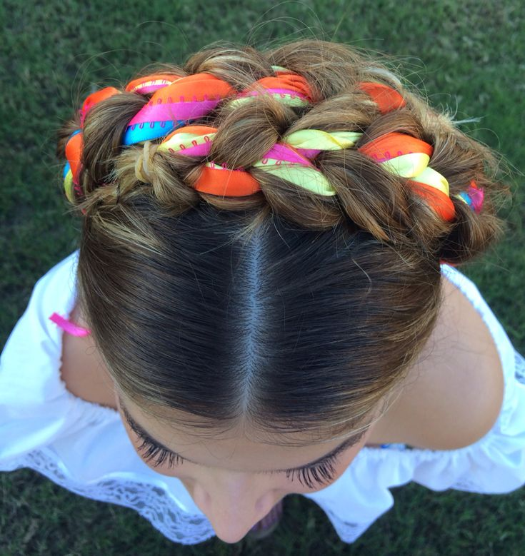 mexican hair braiding styles crown braid with ribbons mexican colors braids 6153