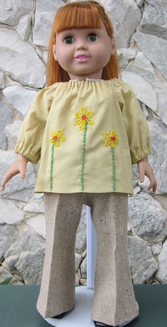 Yellow & beige pant outfit for an 18 doll by TinaDollDesigns, $19.00