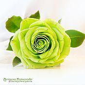 Цветы и флористика ручной работы. Ярмарка Мастеров - ручная работа Зеленая роза из полимерной глины. Handmade.
