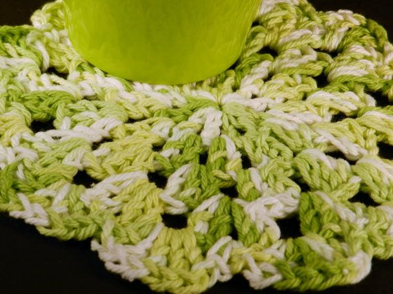 Cotton Dishcloth Crocheted Dishrag Green and White Kitchen by Cozy