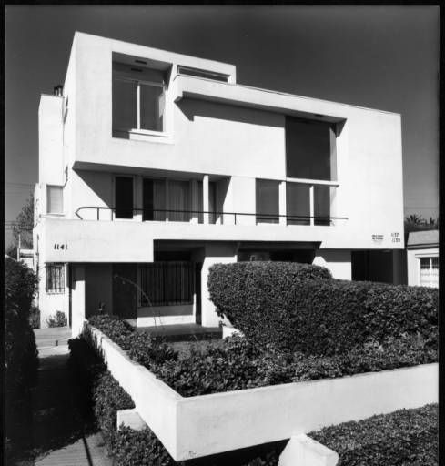 Exterior view of the Mackey Apartments, Los Angeles, 1939 :: Library Exhibits Collection