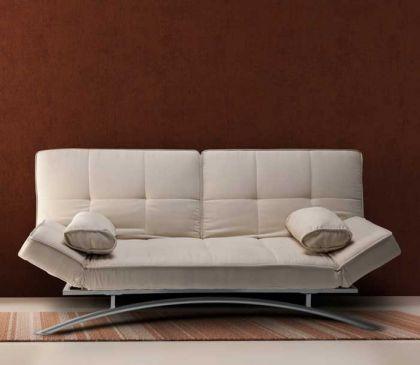 DIVANO LETTO trasformabile reclinabile beige bianco 201 x 90 x 92cm