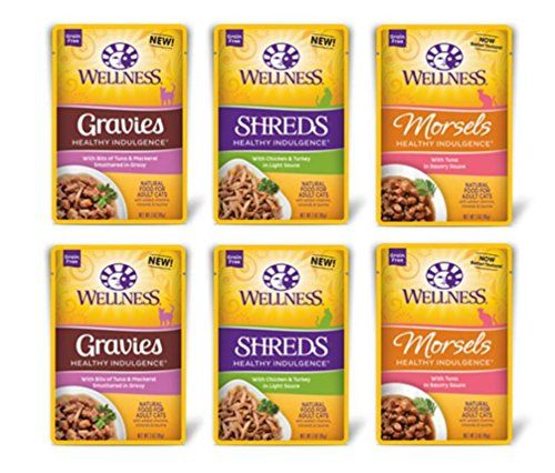 Wellness Healthy Indulgence Grain Free Cat Food 3 Flavor Variety 6 Pouch Bundle: (2) Chicken Turkey Shreds, (2) Tuna Morsels, and (2) Tuna Mackerel Gravies, 3 Oz. Ea. (6 Pouches Total)