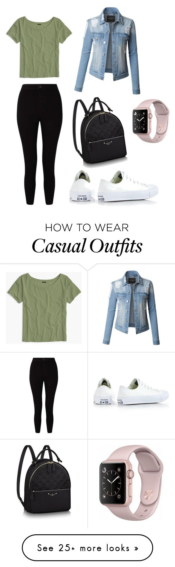 """""""Casual day"""" by irialenm on Polyvore featuring LE3NO, Converse, J.Crew and Miss Selfridge"""