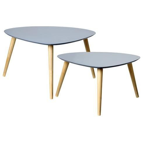 Simple Triangular Coffee Table and Side End Lamp Table - Set of 2 Tables