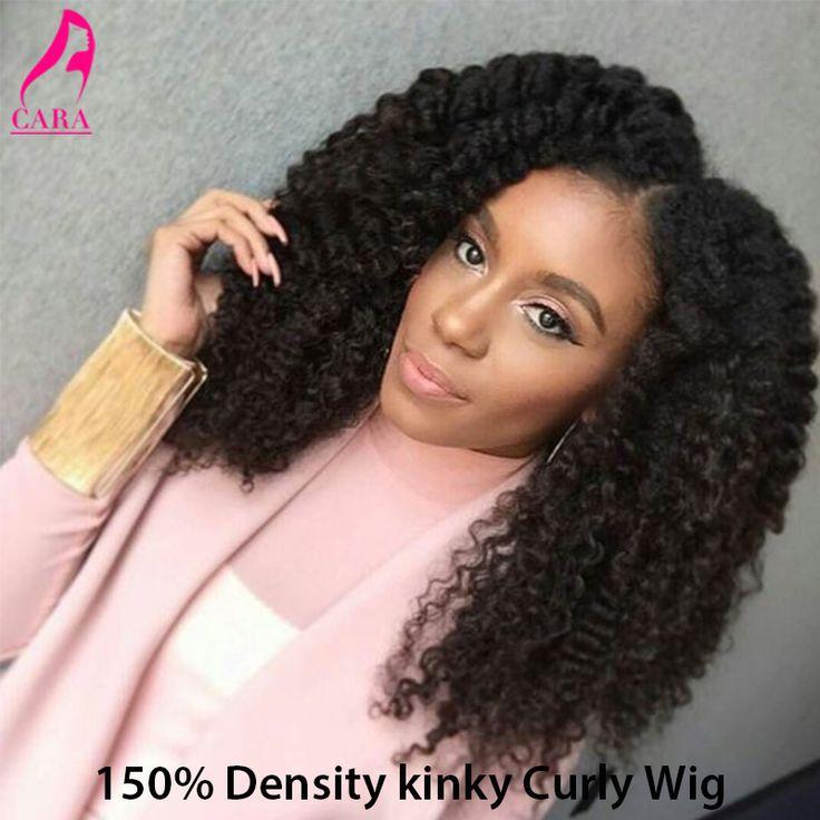 150%密度グルーレス完全なレース人間の髪かつら黒人女性7a変態カーリーレースのフロント人間の髪の毛のかつら変態カーリーレースかつら