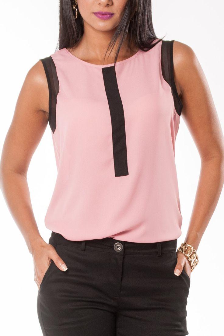 Blusa Expressions rosada con contraste