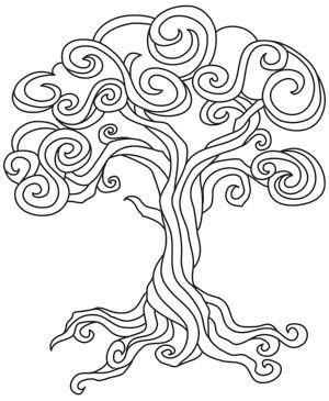 Coloring Page World: Baroque Natura - Tree (Portrait)