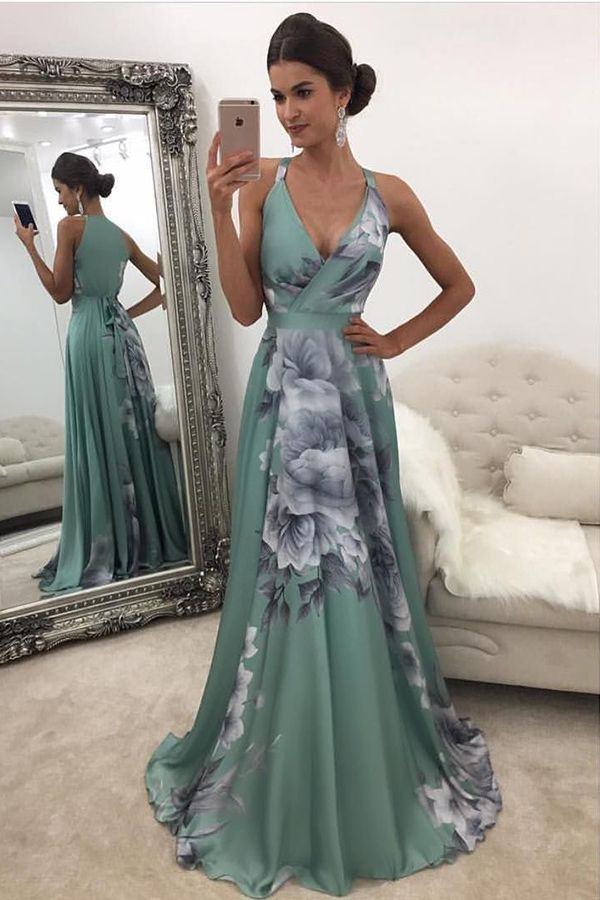 prom dresses 2017, flower print party dresses, sexy halter v-neck prom dresses, long prom dresses, elegant evening gowns, cheap floral party gowns